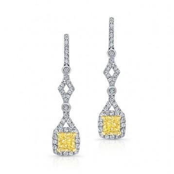 WHITE AND YELLOW GOLD FANCY YELLOW CUSHION DIAMOND DROP EARRINGS