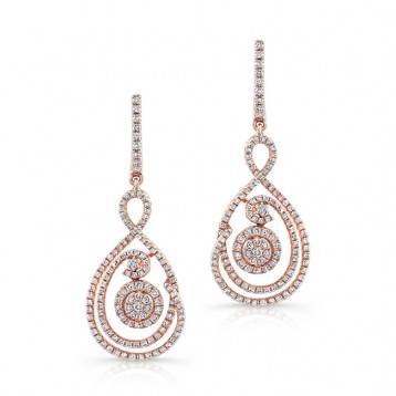ROSE GOLD SWIRL TEAR DROP DIAMOND EARRINGS