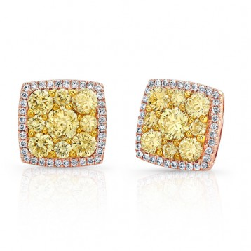ROSE GOLD CONTEMPORARY SQUARE HALO FANCY YELLOW DIAMOND EARRINGS