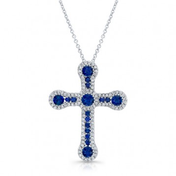 NATURAL COLOR WHITE GOLD VINTAGE SAPPHIRE CROSS DIAMOND  PENDANT