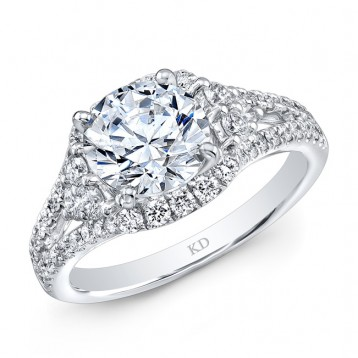 WHITE GOLD VINTAGE ROUND HALO DIAMOND ENGAGEMENT RING