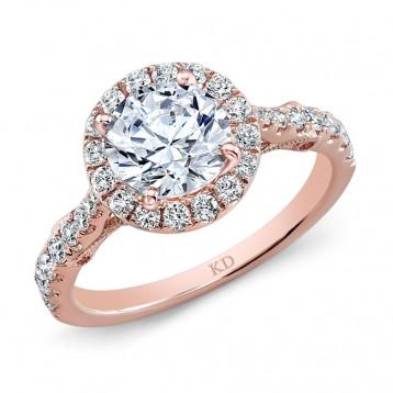 ROSE GOLD  ROUND HALO DIAMOND ENGAGEMENT SET
