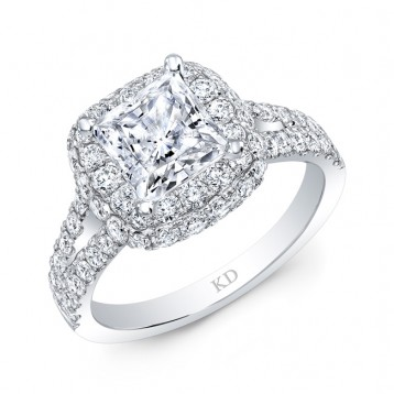 WHITE GOLD CLASSICf HALO DIAMOND ENGAGEMENT RING