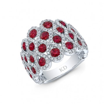 WHITE GOLD NATURAL COLOR INSPIRED STYLISH RUBY DIAMOND RING