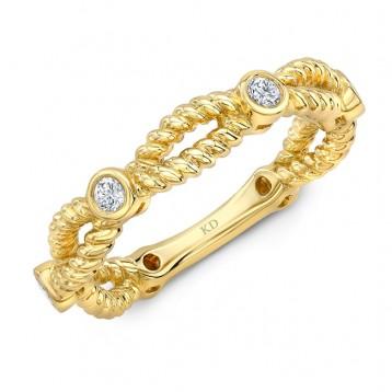 YELLOW GOLD INSPIRED TWISTED DIAMOND FASHION BAND