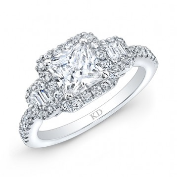 WHITE GOLD SQUARE HALO DIAMOND ENGAGEMENT RING