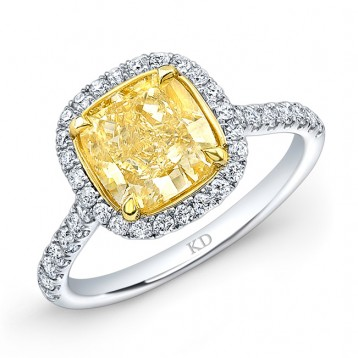 WHITE AND YELLOW GOLD FANCY YELLOW CUSHION DIAMOND HALO BRIDAL RING