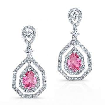 WHITE GOLD ELEGANT PINK ENHANCED PEAR DIAMOND DROPLET EARRINGS