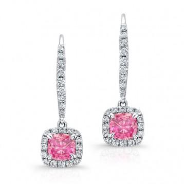 WHITE GOLD PINK ENHANCED CUSHION DIAMOND DANGLE EARRINGS