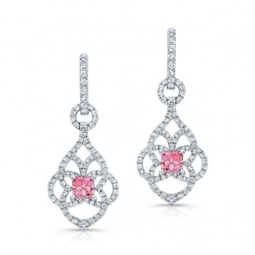 WHITE GOLD VINTAGE PINK ENHANCED PRINCESS DIAMOND DROPLET EARRINGS