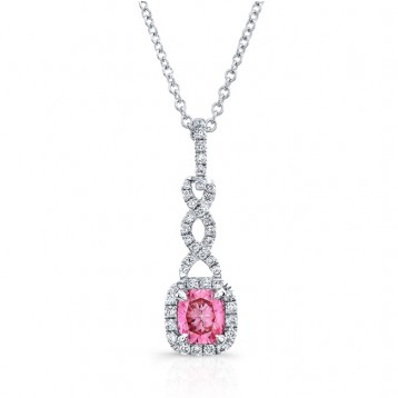 WHITE GOLD TWISTED PINK ENHANCED CUSHION DIAMOND PENDANT