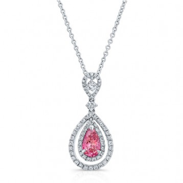 WHITE GOLD PINK ENHANCED PEAR DIAMOND TEAR DROP DESIGN PENDANT