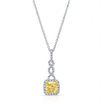 WHITE AND YELLOW GOLD CUSHION FANCY YELLOW DIAMOND TWISTED PENDANT