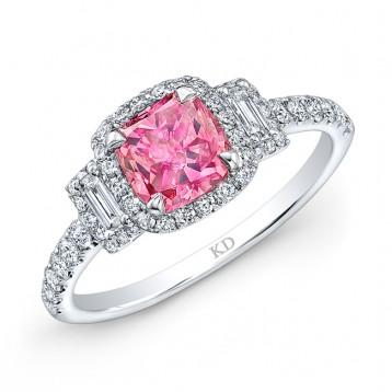 WHITE GOLD PINK ENHANCED CUSHION DIAMOND BRIDAL RING