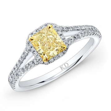 WHITE AND YELLOW GOLD  ELEGANTFANCY YELLOW RADIANT DIAMOND BRIDAL RING