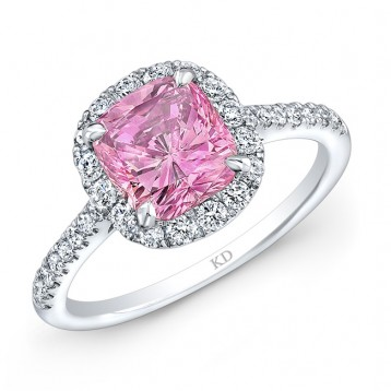 WHITE GOLD CLASSIC PINK ENHANCED CUSHION DIAMOND ENGAGEMENT RING