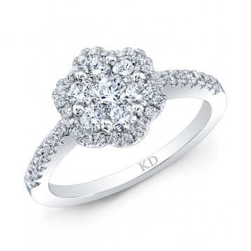WHITE GOLD CONTEMPORARY DIAMOND CLUSTER ENGAGEMENT RING