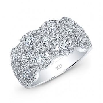 WHITE GOLD FASHION DIAMOND WAVE BAND