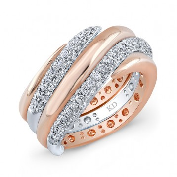 WHITE AND ROSE GOLD SWIRLED FASHION DIAMOND BAND
