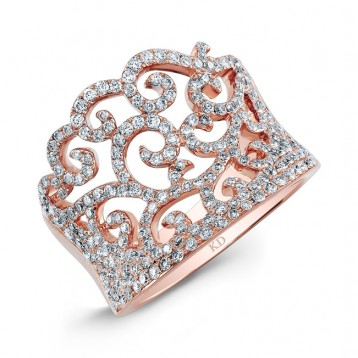 ROSE GOLD ABSTRACT SWIRLED DIAMOND RING