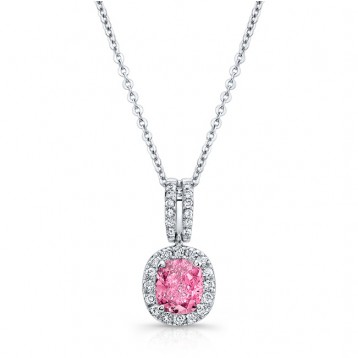 WHITE GOLD ELEGANT PINK ENHANCED CUSHION DIAMOND PENDANT