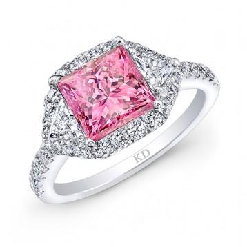 WHITE GOLD PINK ENHANCED PRINCESS DIAMOND ENGAGEMENT RING