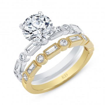 WHITE & YELLOW GOLD CONTEMPORARY DIAMOND ENGAGEMENT SET
