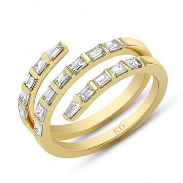 YELLOW GOLD FASHION SWIRLED DIAMOND RING