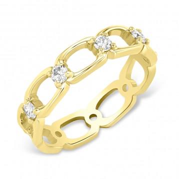 YELLOW GOLD FASHION LINK DIAMOND RING