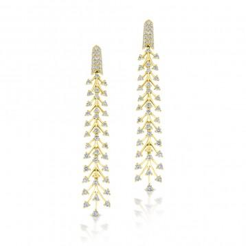 YELLOW GOLD STYLISH DIAMOND DANGLE EARRINGS