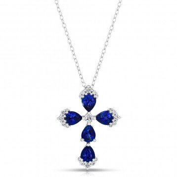 NATURAL COLOR WHITE GOLD DAZZLING SAPPHIRE CROSS DIAMOND PENDANT