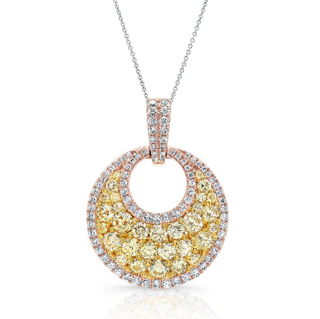 78f7a9acafb5b ROSE GOLD CONTEMPORARY FANCY YELLOW ROUND DIAMOND CLUSTER PENDANT