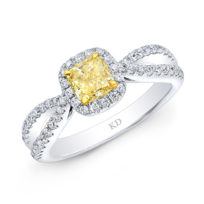 WHITE AND YELLOW GOLD FANCY YELLOW DIAMOND BRIDAL HALO RING