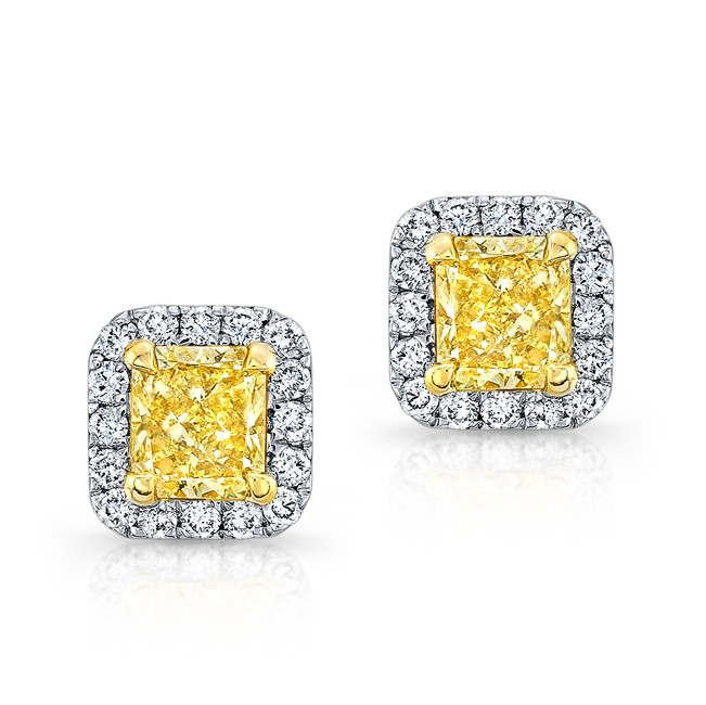 White And Yellow Gold Radiant Fancy Diamond Stud Earrings