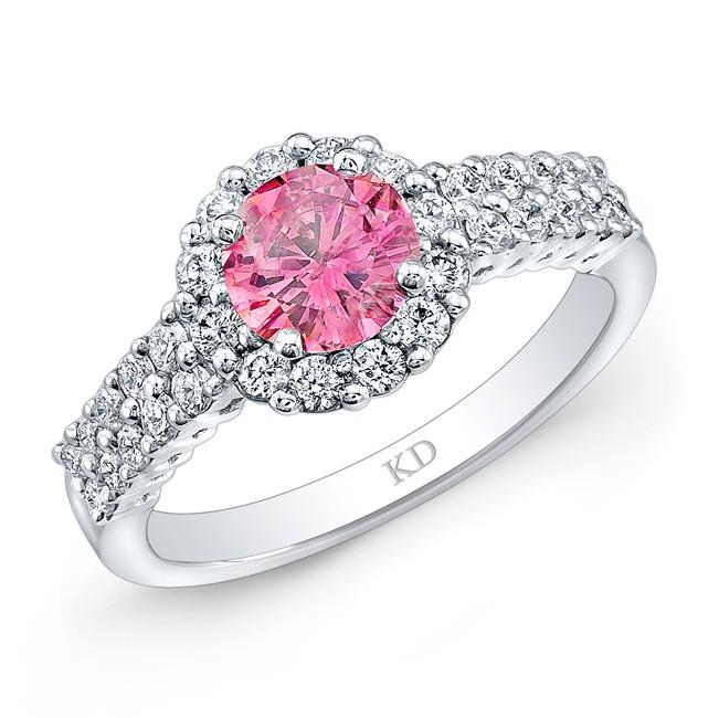 WHITE GOLD PINK ENHANCED ROUND DIAMOND BRIDAL HALO RING