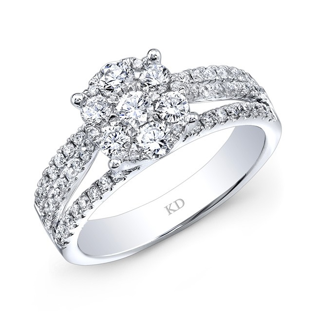 WHITE GOLD INSPIRED DIAMOND CLUSTER FLOWER RING