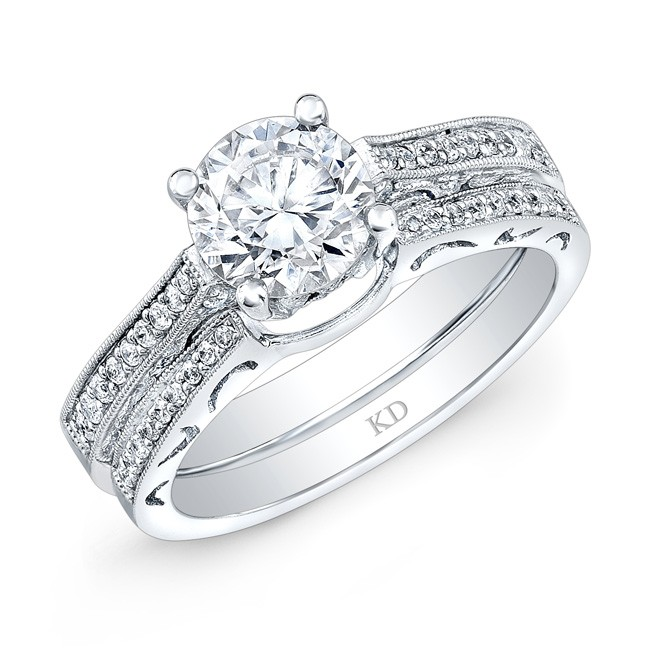 WHITE GOLD DIAMOND VINTAGE ENGAGEMENT SET