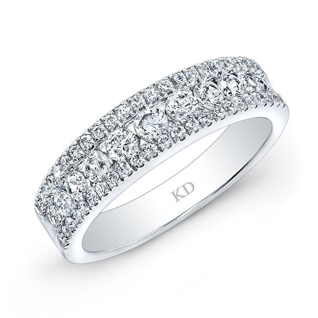 WHITE GOLD THREE ROW PAVE DIAMOND WEDDING BAND