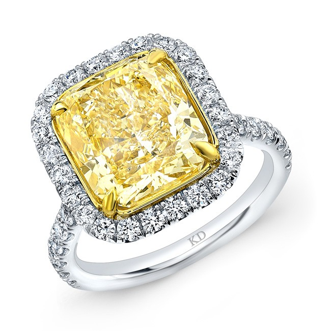 WHITE AND YELLOW GOLD FANCY YELLOW CUSHION DIAMOND ENGAGEMENT RING