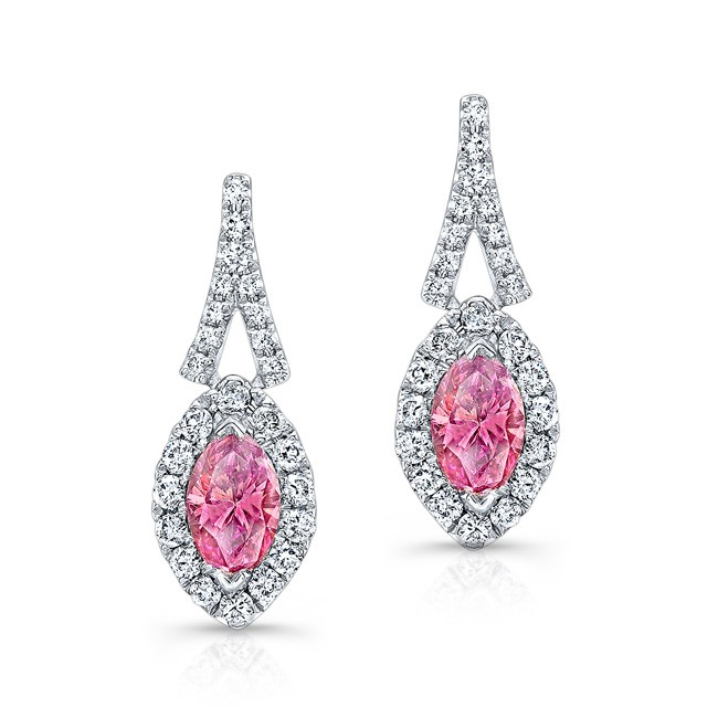 WHITE GOLD PINK ENHANCED MARQUISE DIAMOND HALO EARRINGS