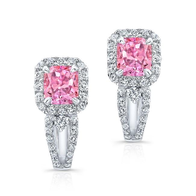 WHITE GOLD PINK ENHANCED RADIANT DIAMOND EARRINGS
