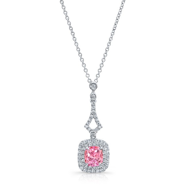 WHITE GOLD ELEGANT PINK ENHANCED CUSHION DIAMOND PENDANT