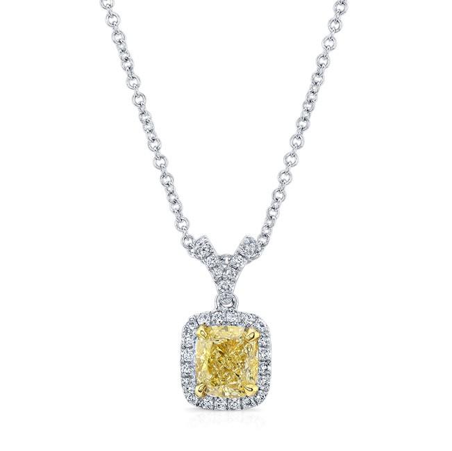 WHITE AND YELLOW GOLD CUSHION FANCY YELLOW DIAMOND HALO PENDANT