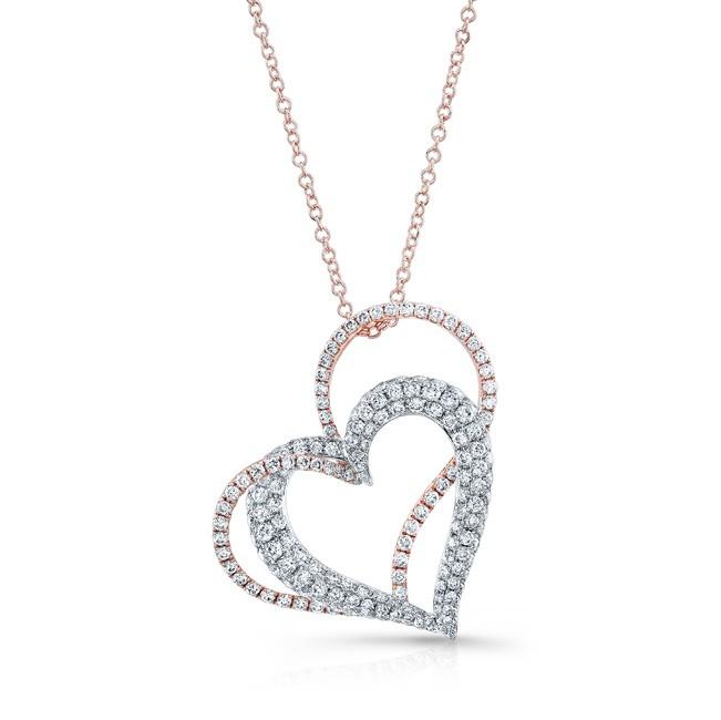 WHITE & ROSE GOLD CONTEMPORARY HEART DIAMOND PENDANT
