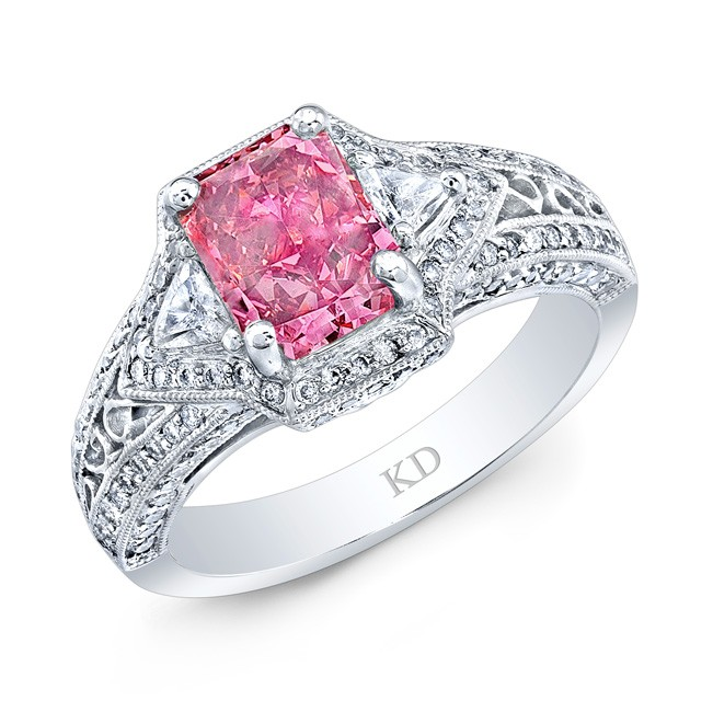 WHITE GOLD VINTAGE PINK ENHANCED RADIANT DIAMOND BRIDAL RING