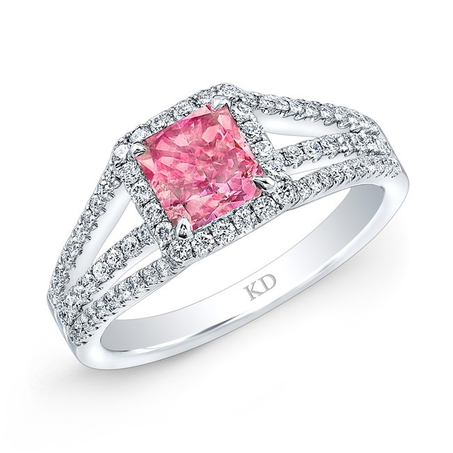 WHITE GOLD  INSPIRED PINK ENHANCED RADIANT DIAMOND BRIDAL RING