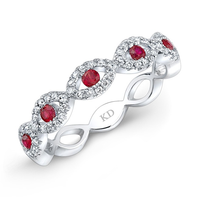 NATURAL COLOR WHITE GOLD INSPIRED RUBY TWISTED DIAMOND BAND