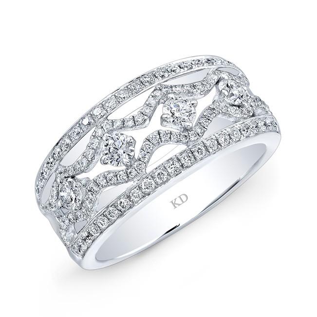 WHITE GOLD INSPIRED DUAL ROW DIAMOND WEDDING BAND