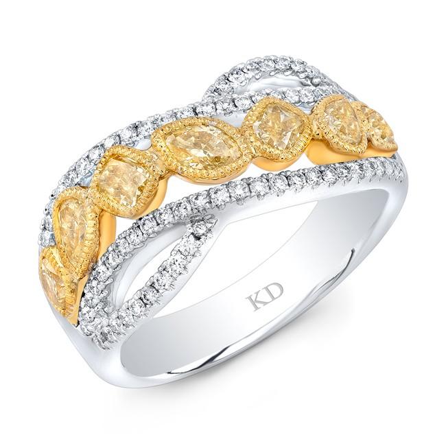 WHITE AND YELLOW GOLD NATURAL YELLOW FASHION DIAMOND RING