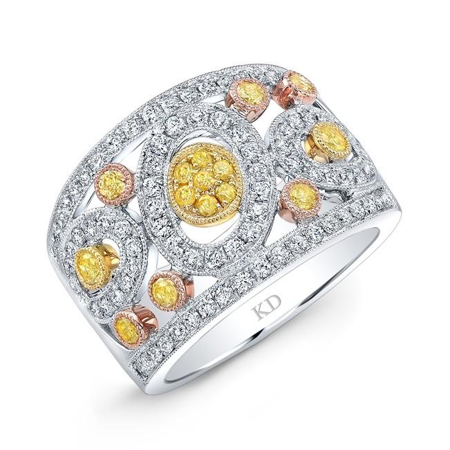 WHITE & YELLOW & ROSE GOLD DAZZLING FANCY YELLOW DIAMOND BAND